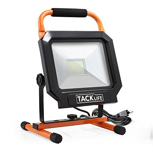 Tacklife 5000LM 50W LED Work Light [100LEDs,400W Halogen Equivalent], IP65 Waterproof Flood Lights, Adjustable Standing Work Lights for Workshop, Construction Site