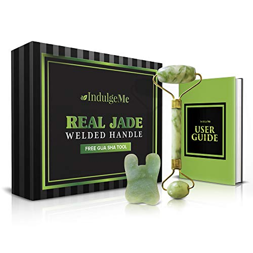 Best Jade Roller for Face Massager – Anti Aging Wrinkling Facial Therapy, 100% Real Natural Jade Stone with Gua Sha Scraping Tool, Slimming, Healing and Rejuvenating Your Skin Naturally
