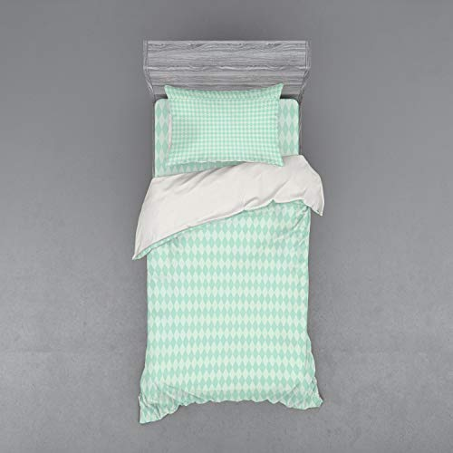 Lunarable Argyle Bedding Set, Soft Toned Pastel Diamond Shapes with Old Fashioned Vintage Argyle Motif, 3 Piece Duvet Cover Set with Sham and Fitted Sheet, Twin XL Size, Mint Green and Seafoam