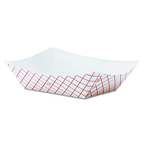 Dixie RP2008 Kant Leek Polycoated Paper Food Tray, 5 x 6 7/10 x 1 3/5, Red Plaid (Case of 1,000) (Dixie Leek Kant)