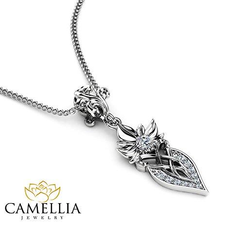 Art Nouveau Diamond Pendant 14K White Gold Diamond Jewelry Necklace Anniversary Gift