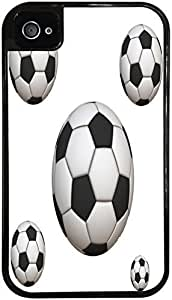 Soccer Ball Black 2-in-1 Protective Case with Silicone Insert for Apple iPhone 4 / 4S by Compass Litho