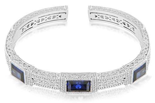 Judith Ripka Bracelet Manchette Acier Inoxydable Argent 925/1000 Bleu Femme