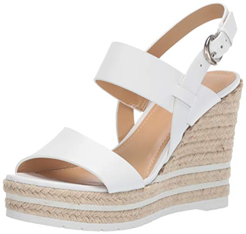 Nine West Women's wnALIVIA Wedge Sandal, White, 7 M - Wedge Shoes Leather