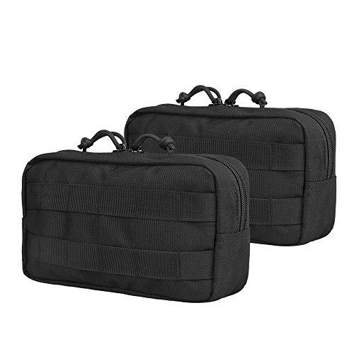 AMYIPO MOLLE Pouch Multi-Purpose Compact Tactical Waist Bags Utility Pouch (94.52.5 inch Black Pouch (2-PCS))