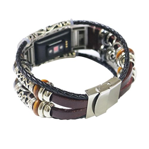 Bracelet For Fitbit Charge 2 Replacement Leather Wristband Bands Band Strap (Wine) by WEIJIJ (Image #6)