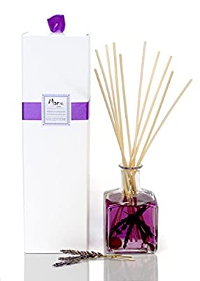 Manu Home French Lavender Diffuser - Made with Real Lavender Stems and Extract from Provence ~ Includes two sets of sticks (Natural & Black) ~ Made in the USA!