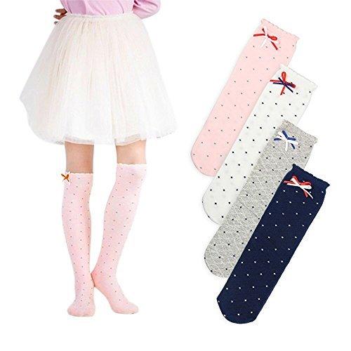 Naisidier Girls Knee High Socks Cotton Dots Dancing Socks Princess Socks with Bowknot, Set of 4 Pairs
