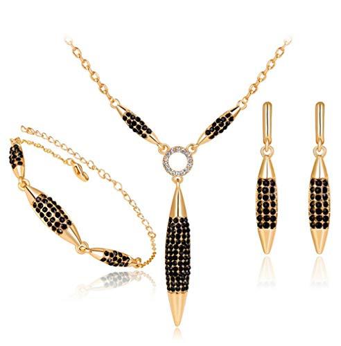 LUYUAN JEWELRY 18k Gold Plated Fashion Unisex Bullet Design Necklace Necklace Bracelet Earring Jewelry Set, Daily Wear Black Diamond Women Jewellery …