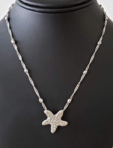 (Unique, Cute, Rhinestone, Star/Starfish Pendant, Silver Tone Necklace ***40% Off***)