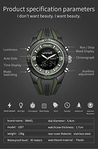 AJIUHE 丨丨SMAEL Dual Time Camouflage LED Digital Watch,33-Month Standby Time 24h All-Weather Monitoring,5 ATM Water Resistance for Android iOS,Professional Service and Warranty