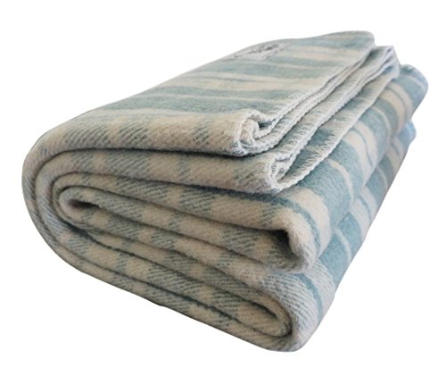 Blend Blanket Throw Wool (Woolly Mammoth Woolen Company Farmhouse Collection French Country Wool Blanket (Teal/Cream Plaid))