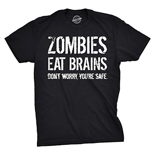 (Mens Zombies Eat Brains So You're Safe Funny T Shirt Living Dead Outbreak Tee (Black) - XXL)