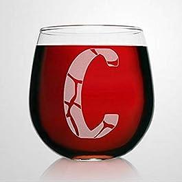 C Monogram Giraffe Wine Glasses Animal Print Stemless Wine Glass Laser Engraved custom Whiskey Glass custom Shot Glass…