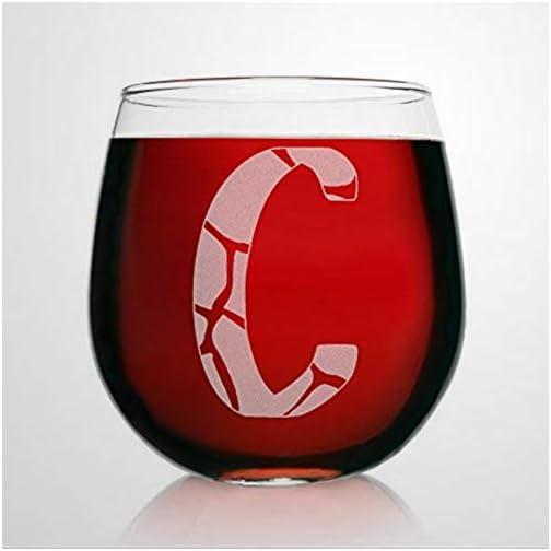 C Monogram Giraffe Wine Glasses Animal Print Stemless Wine Glass Laser Engraved custom Whiskey Glass custom Shot Glass… |