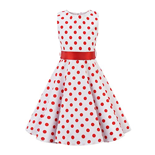 Ariestorm Kids Teen Children Girl Vintage 1950s Retro Sleeveless O Neck Dot Print Casual Dress Skirt White