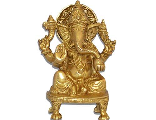 Ganesh, Ganpati, Brass Statue Indian Hand Crafted Religious Sculpture of Ganesha (5.5 Inch)