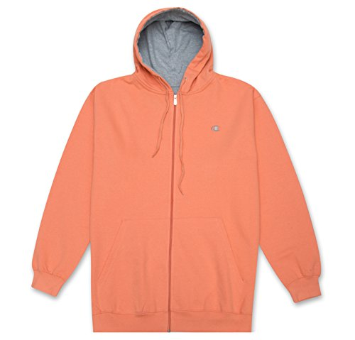 Champion Mens Big and Tall Full Zip Fleece Hoodie Salmon 3XL