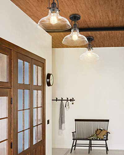 FEMILA Semi Flush Mount Ceiling Light, Farmhouse Close to Ceilight Lighting Fixture, Oil Rubbed Bronze Finish, Clear…