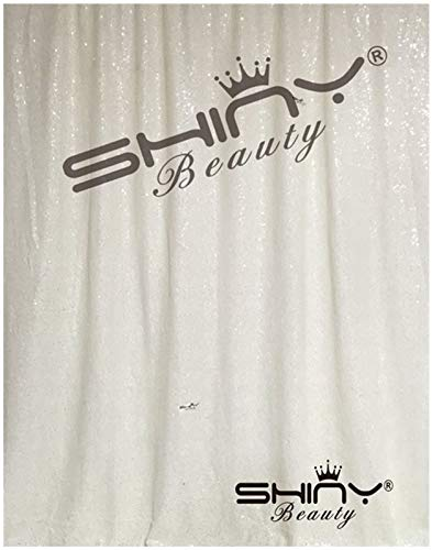 - White Sequin Curtains 2 Panels 2FTx8FT Baby Shower Backdrop Glitter Backdrop Sequin Backdrop for Wedding~N0319