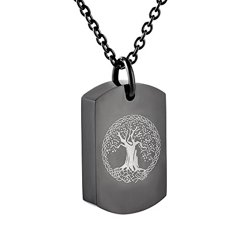 Cremation Jewelry Tree Engraved Dog Tag Memorial Urn Necklace Ashes Keepsake Pendant (black) (Pendant Sports Tag Necklace)