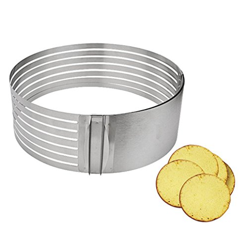 Feccile Adjustable Stainless Steel Cake Slicer Ring Mold for DIY Baking Kitchen Gadget by Feccile Kitchen (Image #3)