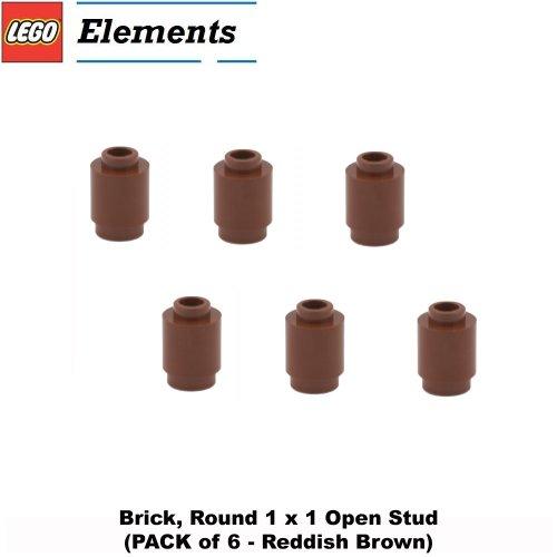 - Lego Parts: Brick, Round 1 x 1 Open Stud (PACK of 6 - Reddish Brown)