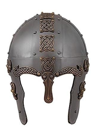 Envejecido nordischer Dragón Casco – Casco vikingo de acero nasal de casco de Battle Merchant