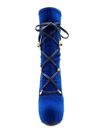 Uk8 Eu42 Azul Red Uk3 Moda Vellón Plataforma Vestido us10 A Zapatos Botas De Robusto Casual Red 5 La 5 Eu36 us5 Rojo Tacón Punta 5 Xzz Redonda Mujer Cn35 5 Negro Cn43 WB4166a