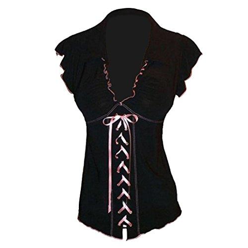 Tops Noir Mode Tops gothique manches Lacer T shirt Empire Taille Sans Tops 5XL Arrtez Hibote Dames Tunique Plus Chemises V Taille Blouses vous Cou t S x4q6xpwF