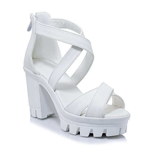 In Alti closure Ankle Tacchi Sandals Uretano Sandali Moda Balamasa Asl04365 Bianco toe Womens wrap Peep No Gomma qnHCTwvxXz