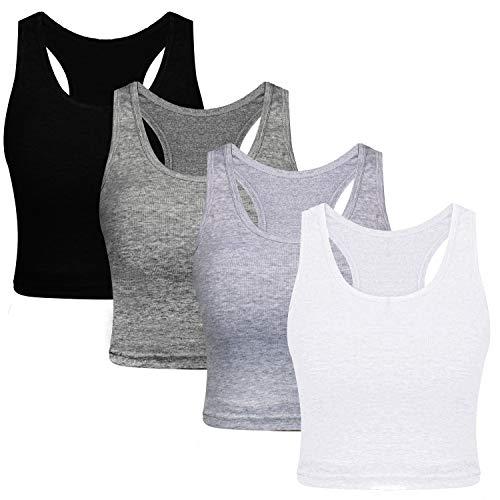NEWIN 4 Pack Cotton Basic Sleeveless Racerback Crop Tank Top Women's Sports Crop Top for Women Girls, 4 ()