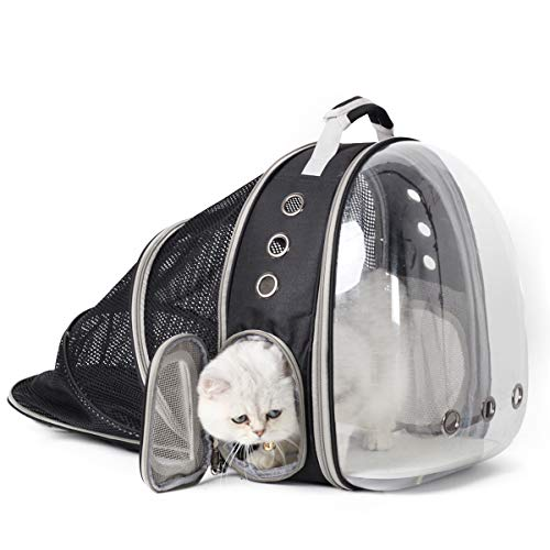 SOURCER Expandable Transparent Cat Carrying Backpack, Space Capsule Bubble Cat Carrier Backpack for Outdoor Hiking and Traveling (Black) -