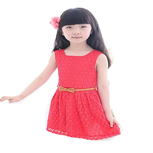 [Orangeskycn Hot Summer Lace Vest Girl Dress Baby Princess Dress Kids Costume (7-8 Year, Red)] (Red Indian Princess Costume)