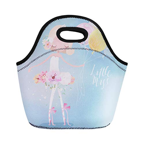 (Semtomn Neoprene Lunch Tote Bag Beautiful Ballet Girl Ballerina in Crown Flower Dress Floral Reusable Cooler Bags Insulated Thermal Picnic Handbag for Travel,School,Outdoors, Work)