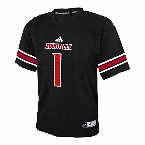 1 Black Replica Football (Louisville Cardinals NCAA Adidas Black Official 3rd Color #1 Replica Football Jersey For Youth (L))