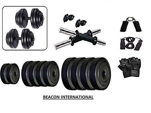 BEACON INTERNATIONAL Extreme Muscles Adjustable Dumbbell Set 40 Kg with Gym Gloves, Skipping Rope, Hand Gripper
