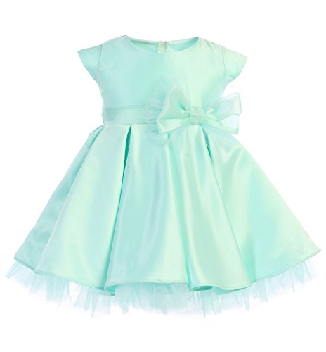 New Baby Girls Blue Lilac Mint Satin Tulle Pleated Dress Wedding Pageant Flower Girl Birthday (Medium (6-12 Months), Mint)