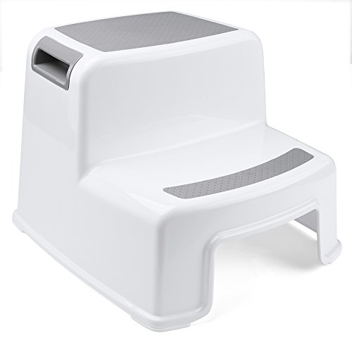 Acko Dual Height Step Stool for Toddlers & Kids Toilet Potty Training with Anti-Slip Surface Use in Bathroom Kitchen White Color