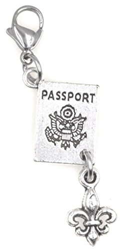 Passport Fleur De Lis Travel Paris Clip on Charm 96Aj