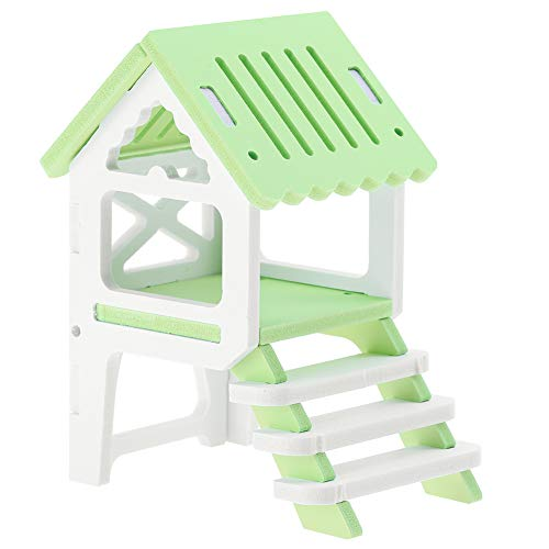 GLOGLOW Wooden Hamster House Assembling Attic Loft Gazebo Waterproof Rat Hut Mouse Cage Small Animal Pet Toys Nesting - Green Cage Hamster