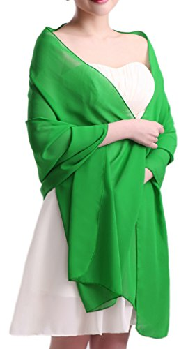 Alivila.Y Fashion Organza Soft Long Wrap Scarf Shawl-Green Chiffon-1669 -