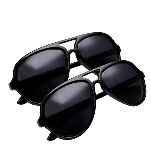 grinderPUNCH Polarized Aviator Sunglasses for Men with Plastic Frame (2 Pack Saver - Black, - Frames Men For Plastic