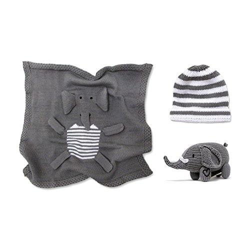 Estella gift-ele Hand Knit Elephant Organic Cotton Newborn Baby Boy Gift Set (Knit Elephant)