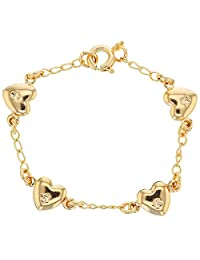 18k Gold Plated Heart Love Chain Link Baby Kids Bracelet Kids 4.5""