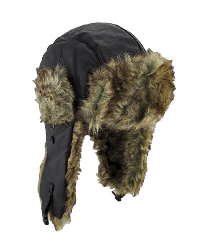 Dakota Dan Trooper Faux Leather Ear Flap Cap w Faux Fur Lining Hat (Black/Brown) (Olympic Beret)