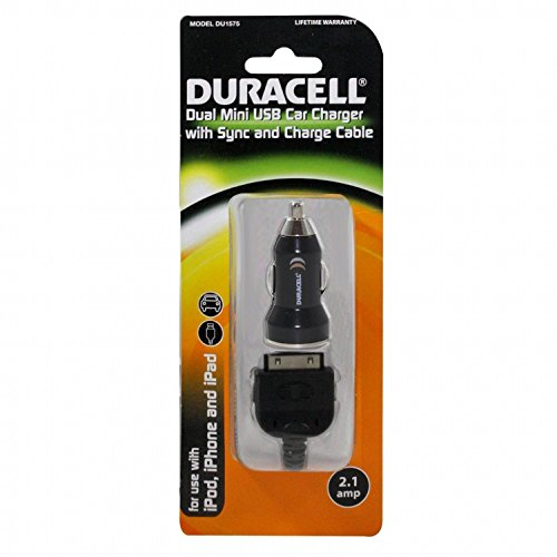 IPhone, IPad, IPod Dual Mini USB Car Charger With Sync And Charge Cable