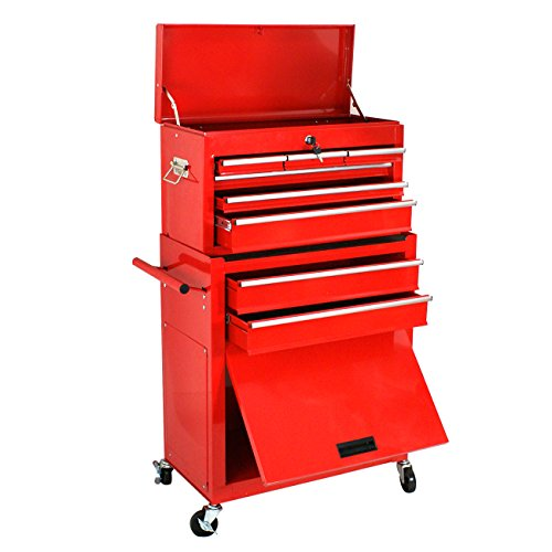 Smartxchoices 24-Inch Solid Steel Portable Removable Mobile Toolbox with Chests and Roller Cabinets 4 Wheels Garage Toolbox Tool Cabinets Tool Storage Box Cabinet W/ 6 Sliding Drawers, Red Roller Cabinet Set