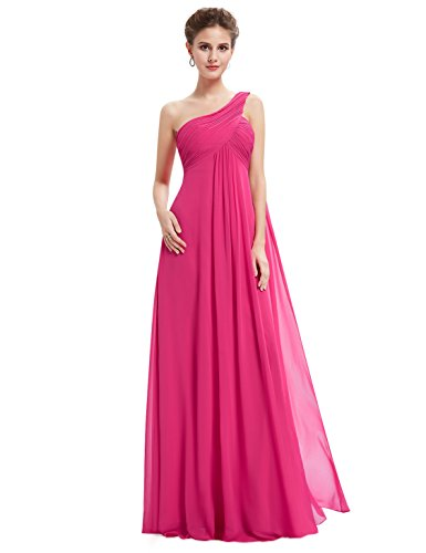 Dress Formal Pink (Ever-Pretty Womens Long One Shoulder Bridesmaid Dress 16 US Hot Pink)