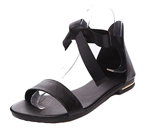 WeenFashion Women's Lace-up Open-Toe Low-Heels PU Solid Sandals, CA18LB04196, Black, (Ribbon Lace Up Sandal)